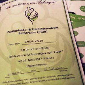 Das Zertifikat zur Teilnahme am Kurs für Bindeweise für Schwangere nach FTZB